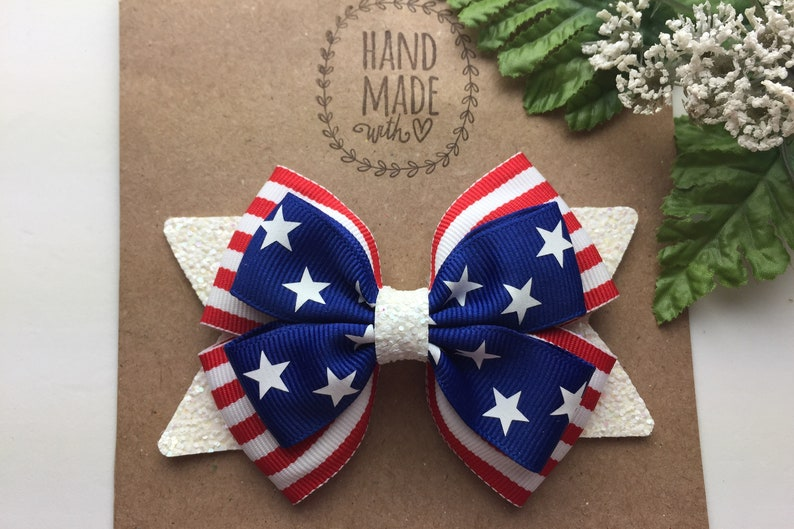 Fourth of July Hair Bow 4 Inch Stars and Stripes Hair Bow Patriotic Red White and Blue Hair Bow 4th of July Hair Bow