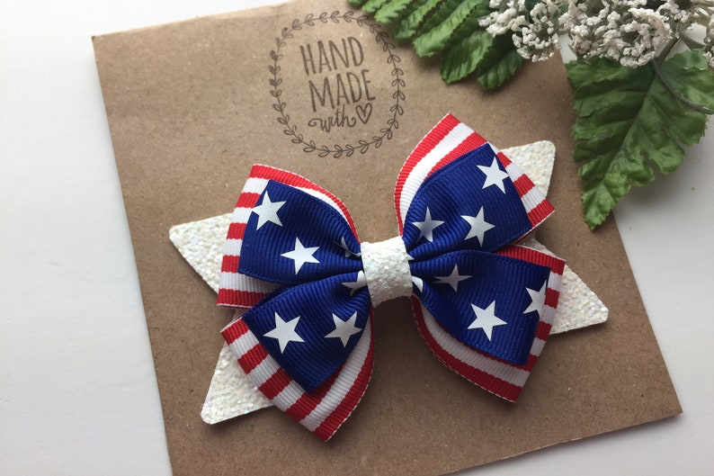 4th of July Hair Bow Fourth of July Hair Bow 4 Inch Stars and Stripes Hair Bow Patriotic Red White and Blue Hair Bow