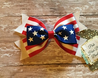 July 4th Hair Bow , patriotic hair bow , Stars and Stripes Red White and Blue Hair Bow , Beautiful Patriotic Boutique Hair Bow