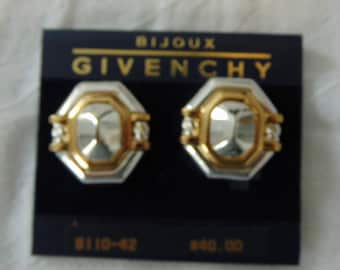 vintage givenchy clip on earrings silver gold bold nwt mint unused