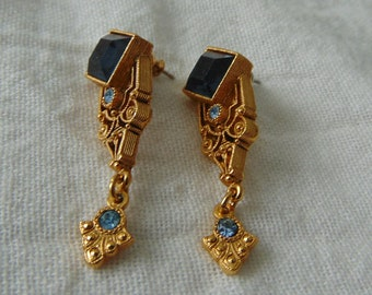 vintage 1928 co. earrings sapphire blue topaz crystals gold filligree pierced earrings victorian revival