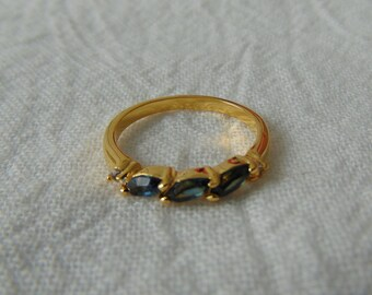 joseph esposito ring sapphire blue clear crystals gold plated band ring size 7 navettes chatons blue clear gold