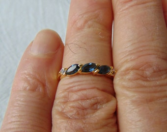 joseph esposito ring sapphire blue clear crystals gold plated band ring size 6 navettes chatons blue clear gold