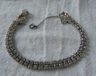 vintage kramer rhinestone bracelet double row clear silver deco signed