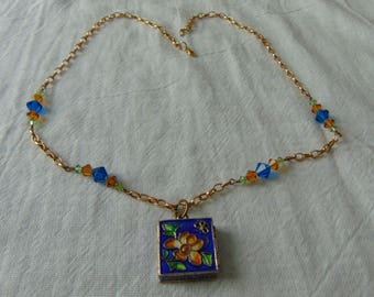 vintage prayer box necklace cloisonne crystals colored enamels gold chain blue topaz green crystals