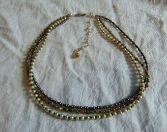 24d76f1e532392 edwardian seed pearl semi precious stone thee strand necklace gray white  greenish antique wedding bridal