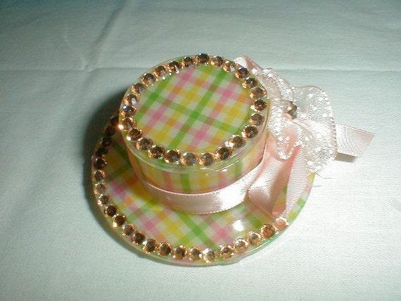 vtg pink crystal bonnet hair barrette pageant pink