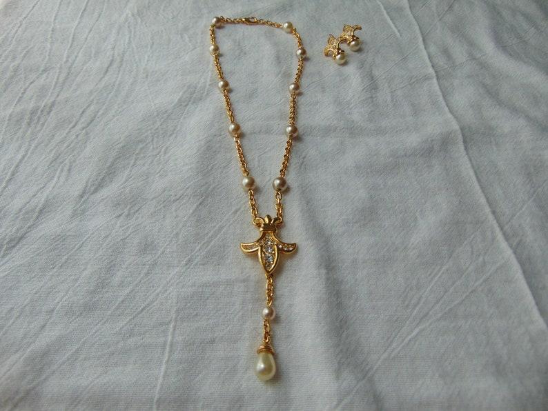 0069bebda62bb vintage nolan miller necklace earrings set fleur de lis crystals pearls  pierced earrings mint signed gold plated demi parure