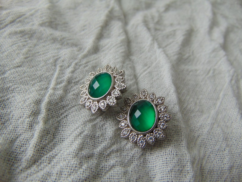 judith ripka pierced earrings green chalcedony diamonique cz crystals  sterling silver signed mint 925 bridal wedding