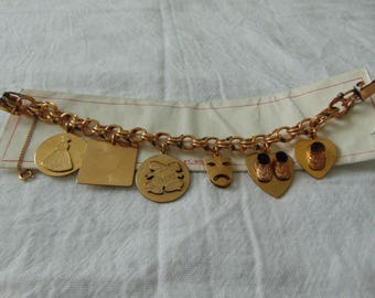 vintage gold filled charm bracelet mint unused nwt sweet