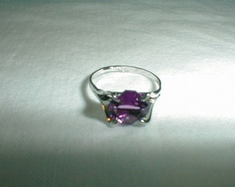 j esposito sterling silver ring size 3 ring small size purple cz ascher cut childs sparkling espo amethyst