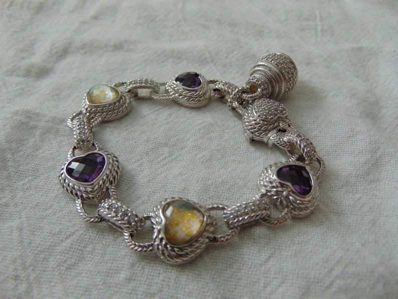 AMETHYST STERLING SILVER AND SEMI-PRECIOUS STONE BRACELET choice of Stones