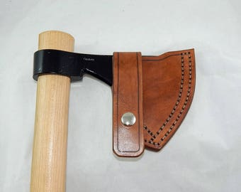Leather sheath for Cold Steel Frontier tomahawk; bushcraft; hiking; camping; Hand made in USA by Walk By Faith 777; custom orders welcome