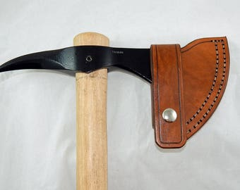 Leather sheath for Cold Steel Spike tomahawk; bushcraft; hiking; camping; Hand made in USA by Walk By Faith 777; custom orders welcome