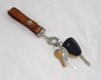 Hand made heavy duty Leather key chain fob, belt loop hanger, great for hiking or everyday wear, made in USA, many colors available