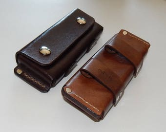Horizontal leather belt pouch sheath for folding knife; Hand-made in USA; hiking, camping, & everyday carry, optional padded lining