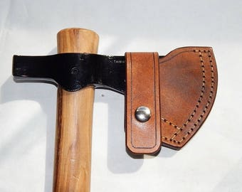 Leather sheath for Cold Steel Trailhawk tomahawk; bushcraft; hiking; camping; hand made in USA by Walk by Faith 777; custom orders welcome
