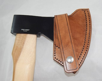 Leather sheath for Cold Steel Trail Boss axe; bushcraft; hiking; camping; Hand made in USA by Walk By Faith 777; custom orders welcome