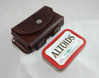 Leather belt pouch for Altoids tin, Heavy duty snap, hiking camping backpack bushcraft survival gear, hand made in USA by Walk By Faith 777