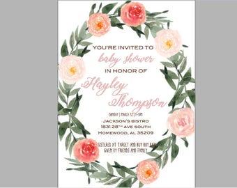 Floral Watercolor Shower Invite