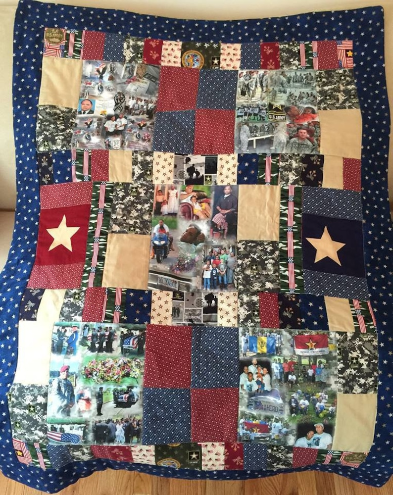 Remembering Quilt with 5 Fabric Collages.  Up to 8 Photos on image 0