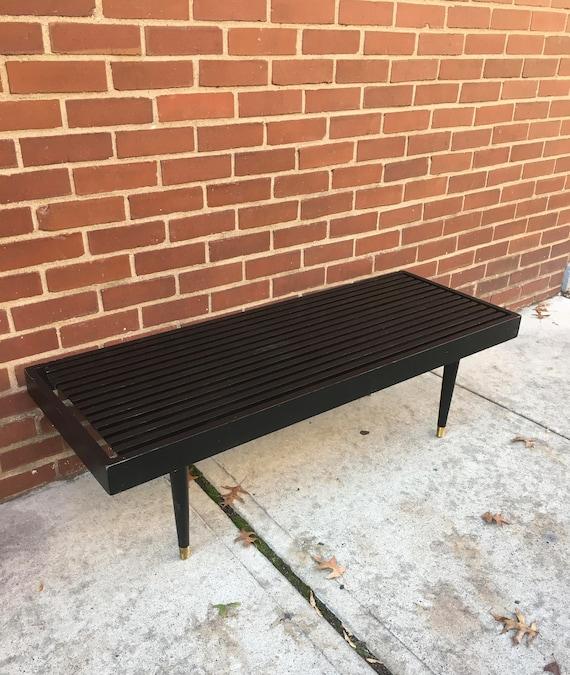 Brilliant Mid Century Modern Black Slat Bench Coffee Table Spiritservingveterans Wood Chair Design Ideas Spiritservingveteransorg
