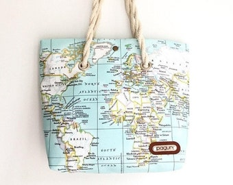 SALE 15% World Map Printed Canvas Bag, Map Purse, Canvas Beach Tote, Map Travel Tote, World Map Travel Shoulder Bag, Wife Gift, Gift For Her