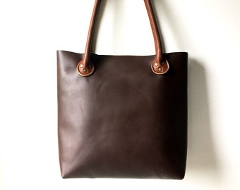SALE 15% Leather Tote Bag, Tan Brown Genuine Leather Tote Bag, Leather Shoulder Bag, Wife Gift, Gift For Her, Basic Leather Tote, Shopping