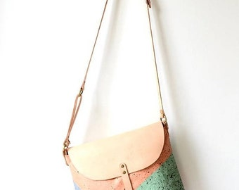 SALE 15% Hand-painted Color Block Canvas&Leather Saddle Bag, Customizable Personalized Gift For Her, Wife Girlfriend Gift, Unique, Pastel Co