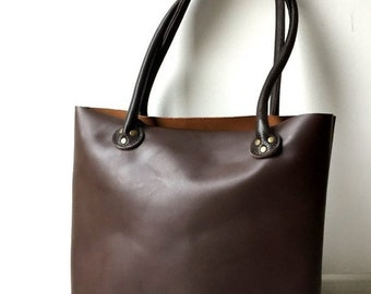 SALE 15% Leather Tote Bag, Brown Genuine Leather Tote, Leather Shoulder Bag, Wife Gift, Gift For Her, Basic Leather Tote,  Leather Shopper T