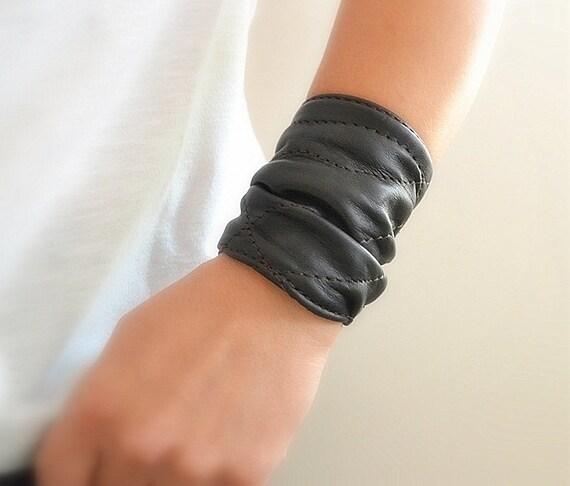 Black Leather Cuff Leather Wrap Bracelet Women Bracelet  90ace4e94