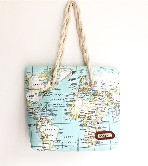 World Map Printed Canvas Bag Map Purse Canvas Beach Tote Etsy