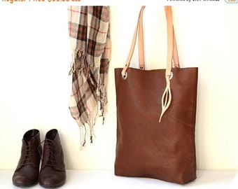 SALE 15% Tan Brown Leather Tote Bag, Wife Gift, Vegetable Tanned Leather Straps, Cognac Leather Shopper Tote, Leather Laptop Tote, Diaper Ba