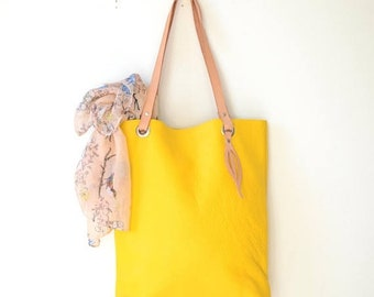 SALE 15% Yellow Leather Tote Bag, Wife Gift, Sunny, Brilliant Yellow Leather Shopper Tote, Yellow Gift For Her, Womens Leather Shoulder Bag