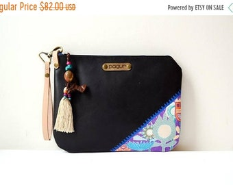 SALE 15% Black Leather Zippered Clutch Bag, Evening Clutch, Hand Painted Leather Clutch, Unique, Wristlet Leather Clutch, Ethnic Boho Leathe