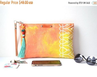 SALE 15% Hand Painted Canvas Ethnic Clutch, Boho Style Canvas Clutch Wristlet, Hand Painted Unique Gift For Her Wife Girlfriend, Valentines