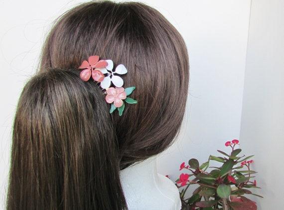 3 Color Flower Hair Comb, Christmas Hair