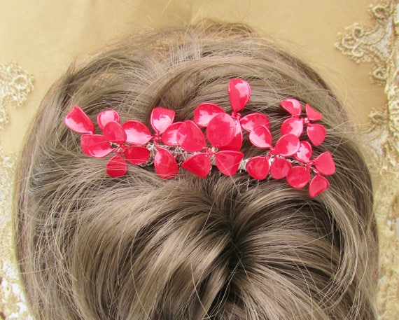 Hair comb With Red Color Flower , Christmas