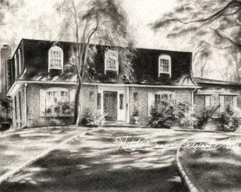 CUSTOM HOUSE Drawing, Large Charcoal Landscape, Housewarming Gift, Family Gift, Special Gift, Anniversary Gift, Birthday Christmas Gift