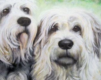 """White Dogs, ORIGINAL 18x14"""" Painting, White Terriers, Animals, Family Dog, Grey, Green Landscape, Pet Portrait , Dog Painting, White Dogs"""