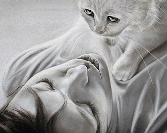 Woman with Cat, FRAMED ORIGINAL Pastel Drawing, Friendship, Cat, Girl, Woman, Gray, Pastel, True Love, Pet Portrait, Portrait