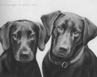 CUSTOM Pet Portrait, Large Custom Pet Drawing, Family Dog, Best Friend, Special Present, Family Gift, Gift for Men, Christmas Gift