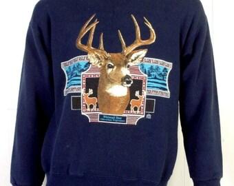 b73a50ddb2cbd vtg 80s 90s retro 1992 Deer Stag Buck Hunting Sweatshirt Whitetail sz M