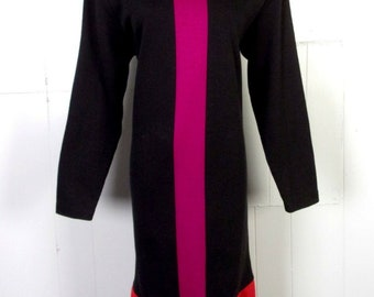 6f27b689ab vtg 80s CHU dresses COLORBLOCK LS Sweater Dress Shift sz M