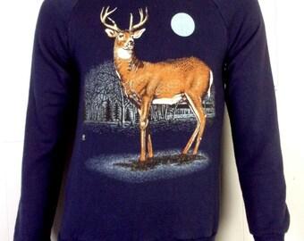 378e48f88fbab vtg 80s Animal Stag Buck Whitetail Deer Raglan Sweatshirt Hunting indie S/M
