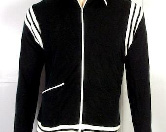 04148a86f340 vtg 70s Stix Baer & Fuller Acrylic Black White Ringer Track Jacket full zip  M