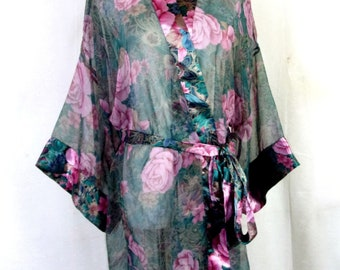 fab62ad0d6c1d0 vtg 80s Victoria's Secret SHEER Floral Robe Lingerie Intimate Sleep ONE SIZE
