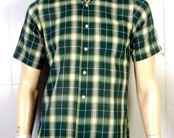 3a0229615 vtg 50s 60s Penneys Towncraft Green Plaid Button Back Collar ss Dress Shirt  sz S