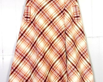 63ea7f2553 vtg 60s 70s Hippy Boho Colorful Earth Tone Argyle Wool Tweed Skirt A-Line  sz 9
