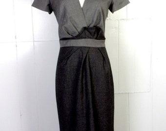 5b9a46fad60 vtg 90s euc J.Crew Charcoal Gray Glen Plaid 100% Wool Pencil Dress Ruffle  sz 0